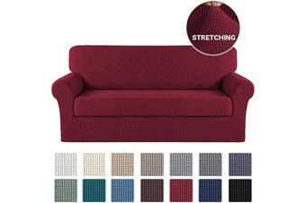 (X-Large, Burgundy Red) - Stretch Couch Cover 2 Piece Stretch Sofa Slipcover/Spandex Furniture Protector for 4 Cushion Couch Slipcover Extra Large Stretch Sofa Cover for Living Room Furniture Cover(XL Sofa, Burgundy)