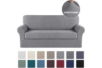 (Large, Dove) - Turquoize Sofa Cover Couch Covers with Elastic Bottom Durable Sofa Stretch Slipcovers Sofa Furniture Protector/Couch Slipcover Cushion Cover with Jacquard Small Checked (Sofa, Dove)
