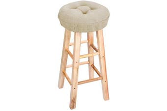 (Dark Beige) - Lominc 32cm Round Padded Bar Stool Cover Cushion, Suitable for 29cm - 32cm Wooden Stools, to Relieve Pressure, Oil and Water Resistant, with Ties to Stay On