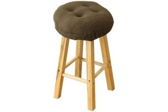 (Brown) - Lominc 32cm Round Padded Bar Stool Cover Cushion, Suitable for 30cm - 33cm Wooden Stools, to Relieve Pressure, Oil and Water Resistant, with Ties to Stay On