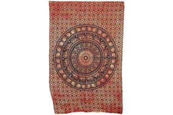 (Twin (220cm  x 140cm ), Orange Dye) - Marubhumi Indian Tapestry Wall hangings Orange Tie Dye Hippie Mandala Tapestry Wall Art Collage Dorm Beach Throw Bohemian Tapestry Wall Decor Boho Bedspread, Twin (220cm x 140cm )