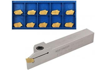 (1.9cm  x 1.9cm  w/ extra 10 inserts) - Accusize Industrial Tools 1.9cm Heavy Duty Indexable Grooving Cut-Off Holder, Nickel Plated, with 11 Gtn-3 Tin Coating Carbide Inserts, 2415-5030INS