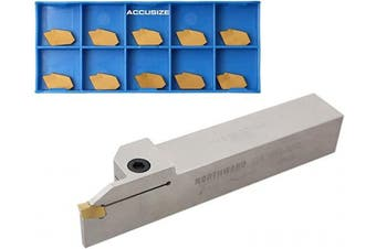 (2.5cm  x 2.5cm  w/ extra 10 inserts) - Accusize Industrial Tools 2.5cm Heavy Duty Indexable Grooving/Cut-Off Holder, Nickel Plated, with 11 Gtn-4 Tin Coated Carbide Insert, 2415-5036INS