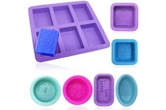 Silicone Soap Moulds, AFUNTA 1 Pcs Rectangle Silicone Mould & 6 Pcs Small Silicone Moulds, for Cupcake, Cookies, DIY Baking - Round, Oval, Square Mould, Multiple Colours