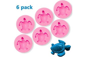 6 Pcs Sea Turtle Silicone Mould, Turtle Candy Fondant Mould, Tortoise Chocolate Making Mould for Desserts DIY Baking Cake Muffin Bread Decoration Tools (Pink)