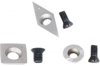 (Carbide Tipped) - 3pcs Carbide Turning Inserts Cutters Set for Indexable Lathe Turning Tool Holder Insert Replacement of Round 12mm Square 15mm Diamond 32mm with Sharp Point Fit for AT03 Woodturning Tool Set