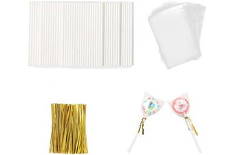 (Gold) - Akingshop 100PCS Lollipop Sticks & Cellophane Treat Bags & Twist Ties, OPP Bags Candy Ties Paper Sticks Kit Set for Candy Cake Pop Chocolate Cookie Wrapping Buffet Party Favours (Gold)