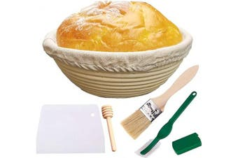 Amajoy 25cm Banneton Proofing Basket Set Large Round Bread Proofing Basket Baking Dough Bowl Gifts for Home Bakers Baking Tool with Cloth Liner, Scraper, Bread Lame, Bristle Brush and Honey Dipper