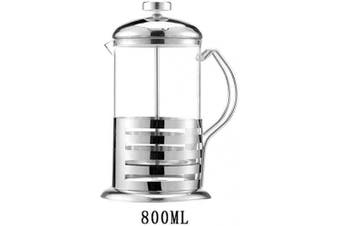 (27 Oz / 800 ML) - XIBLISS French Press Coffee Plunger,Tea & Coffee Maker,Stainless Steel Thicker Durable Heat Resistant Borosilicate Glass,Silver(27 Oz / 800 ML)