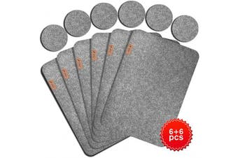 (Light Grey) - Lexella Placemats for Dining Table Set of 6 Place Mats and 6 Coasters for Drinks - Place Mats for Kitchen Table with Coasters - Set of 12 (Light Grey)