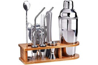 Bartender Kit Cocktail Shaker Bar Set, Stainless Steel Bar Set, 14-Piece Premium Bartending Kit with Sleek Bamboo Stand for Home,Bars,Travelling and Outdoor Parties by AHNR