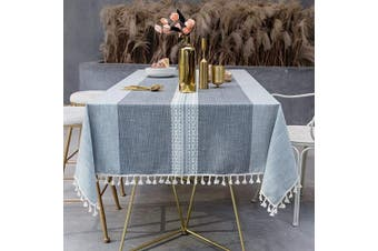 (140cm  x 180cm , Grey/Dark Grey) - OstepDecor Tablecloth, Rectangle Table Cloth for 1.2m Table, Cotton Linen Tablecloths, Table Cover for Kitchen Dinning Room Party, Rectangle/Oblong, 140cm x 180cm , 4-6 Seats, Grey