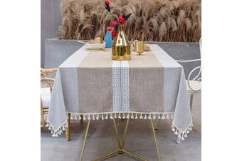 (140cm  x 220cm , Light Coffee) - OstepDecor Tablecloth, Rectangle Table Cloth for 1.2m Table, Cotton Linen Tablecloths, Table Cover for Kitchen Dinning Room Party, Rectangle/Oblong, 140cm x 220cm , 6-8 Seats, Light Coffee