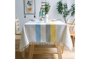 (140cm  x 220cm , White/Yellow) - OstepDecor Tablecloth, Rectangle Table Cloth for 1.2m Table, Cotton Linen Tablecloths, Table Cover for Kitchen Dinning Room Party, Rectangle/Oblong, 140cm x 220cm , 6-8 Seats, White Yellow