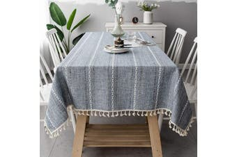 (140cm  x 220cm , Blue Gray) - OstepDecor Tablecloth, Rectangle Table Cloth for 1.2m Table, Cotton Linen Tablecloths, Table Cover for Kitchen Dinning Room Party, Rectangle/Oblong, 140cm x 220cm , 6-8 Seats, Blue
