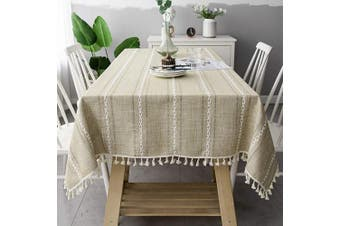 (150cm , Apricot) - OstepDecor Round Tablecloth, Round Table Cloth, Cotton Linen Tablecloths, Table Cover for Kitchen Dinning Room Party, Round 150cm Dia, Apricot