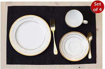 (30cm  x 46cm  Set of 4, Black) - Black Placemats Set of 4, Waterproof Place mats for Dining Table, Outdoor Washable Table Mats for Kitchen Table for Fiesta, Dinner Parties, Event, Wedding, Decor Thanksgiving, Halloween, Christmas