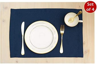 (30cm  x 46cm  Set of 4, Navy) - Navy Blue Placemats Set of 4, Waterproof Place mats for Dining Table, Outdoor Washable Table Mats for Kitchen Table for Fiesta, Dinner Parties, Event, Wedding, Decor Thanksgiving, Halloween, Christmas