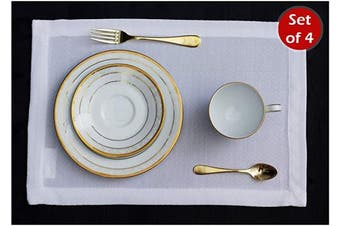 (30cm  x 46cm  Set of 4, White) - White Placemats Set of 4, Waterproof Place mats for Dining Table, Outdoor Washable Table Mats for Kitchen Table for Fiesta, Dinner Parties, Event, Wedding, Decor Thanksgiving, Halloween, Christmas