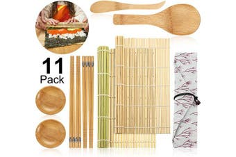 11 Pieces Sushi Making Kit, Includes Sushi Bamboo Mat, Chopsticks, Rice Paddle, Rice Spreader, Sauce Dishes and Cotton Bag for Beginner Sushi Tools Supplies
