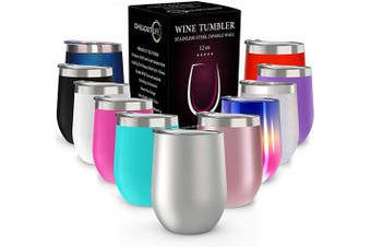 (350ml, Stainless Steel) - CHILLOUT LIFE 350ml Stainless Steel Tumbler with Lid & Gift Box - Wine Tumbler Double Wall Vacuum Insulated Travel Tumbler Cup for Coffee, Wine, Cocktails, Ice Cream - Sweat Free, BPA Free