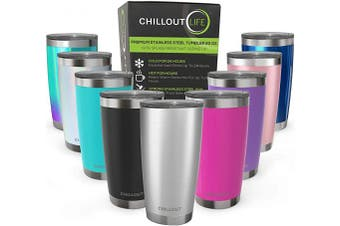 (590ml, Stainless Steel) - CHILLOUT LIFE 590ml Stainless Steel Tumbler with Lid & Gift Box - Double Wall Vacuum Insulated Large Travel Coffee Mug with Splash Proof Lid for Hot & Cold Drinks