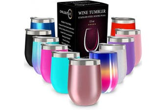 (350ml, Rose Gold) - CHILLOUT LIFE 350ml Stainless Steel Tumbler with Lid and Gift Box - Wine Tumbler Double Wall Vacuum Insulated Travel Tumbler Cup for Coffee, Wine, Cocktails, Ice Cream