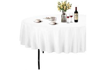 (Φ 230cm , White) - ABCCANOPY Round Tablecloth 230cm Inch Round Table Cloths for Circular Table Cover Washable Polyester - Great for Buffet Table, Parties, Holiday Dinner, Wedding & More