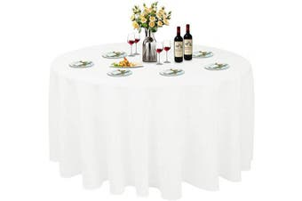 (Φ 300cm , White) - ABCCANOPY Round Tablecloth 300cm Inch Round Table Cloths for Circular Table Cover Washable Polyester - Great for Buffet Table, Parties, Holiday Dinner, Wedding & More
