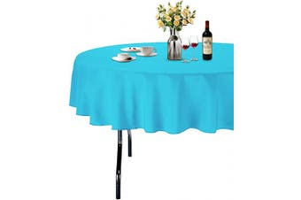 (Φ 180cm , Sky Blue) - ABCCANOPY Round Tablecloth 180cm Inch Round Table Cloths for Circular Table Cover Washable Polyester - Great for Buffet Table, Parties, Holiday Dinner, Wedding & More