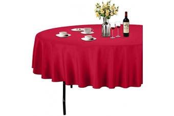 (Φ 230cm , Red) - ABCCANOPY Round Tablecloth 230cm Inch Round Table Cloths for Circular Table Cover Washable Polyester - Great for Buffet Table, Parties, Holiday Dinner, Wedding & More