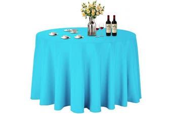 (Φ 270cm , Sky Blue) - ABCCANOPY Round Tablecloth 270cm Inch Round Table Cloths for Circular Table Cover Washable Polyester - Great for Buffet Table, Parties, Holiday Dinner, Wedding & More