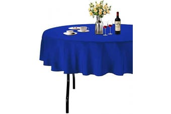 (Φ 180cm , Deep Blue) - ABCCANOPY Round Tablecloth 180cm Inch Round Table Cloths for Circular Table Cover Washable Polyester - Great for Buffet Table, Parties, Holiday Dinner, Wedding & More