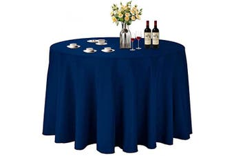 (Φ 270cm , Navy Blue) - ABCCANOPY Round Tablecloth 270cm Inch Round Table Cloths for Circular Table Cover Washable Polyester - Great for Buffet Table, Parties, Holiday Dinner, Wedding & More