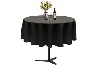 (Φ 150cm , Black) - ABCCANOPY Round Tablecloth 150cm Inch Round Table Cloths for Circular Table Cover Washable Polyester - Great for Buffet Table, Parties, Holiday Dinner, Wedding & More