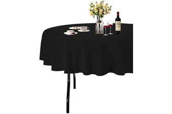 (Φ 180cm , Black) - ABCCANOPY Round Tablecloth 180cm Inch Round Table Cloths for Circular Table Cover Washable Polyester - Great for Buffet Table, Parties, Holiday Dinner, Wedding & More