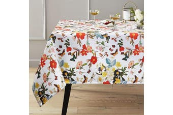 (Rectangle/Oblong, 150cm  x 260cm , Blooming Floral) - ColorBird Spring Bloom Tablecloth with Botanical Print - Water Resistant Spillproof Polyester Fabric Table Cover for Kitchen Dinning Tabletop Decoration, Rectangle/Oblong, 150cm x 260cm
