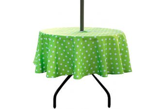 (150cm  Round, Zippered, Polka Dot) - ColorBird Green Polka Dot Outdoor Tablecloth Water Resistant Spillproof Polyester Fabric Table Cover with Zipper Umbrella Hole for Spring Summer Patio Garden Tabletop Decor, 150cm Round, Zippered