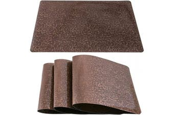 (Set of 8, Tree Root-brown) - DUOFIRE Placemats for Dining Table Washable Vinyl Placemats PVC Dinner Table Mats Easy to Clean Non Slip Placemats for Holidays (Tree Root:Brown-Set of 8)