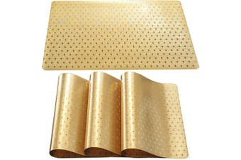 (Set of 4, Little Star-gold) - DUOFIRE Placemats for Dining Table Washable Vinyl Placemats PVC Dinner Table Mats Easy to Clean Non Slip Placemats for Holidays (Little Star:Gold-Set of 4)