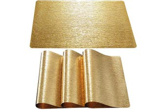 (Set of 4, Water Ripple-gold) - DUOFIRE Placemats for Dining Table Washable Vinyl Placemats PVC Dinner Table Mats Easy to Clean Non Slip Placemats for Holidays (Water Ripple:Gold-Set of 4)
