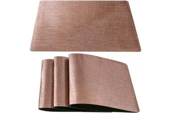 (Set of 8, Crack Pattern-brown) - DUOFIRE Placemats for Dining Table Washable Vinyl Placemats PVC Dinner Table Mats Easy to Clean Non Slip Placemats for Holidays (Crack Pattern:Brown-Set of 8)