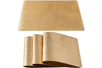 (Set of 8, Crack Pattern-gold) - DUOFIRE Placemats for Dining Table Washable Vinyl Placemats PVC Dinner Table Mats Easy to Clean Non Slip Placemats for Holidays (Crack Pattern:Gold-Set of 8)