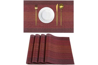 (4, Gradientred) - Homaxy Placemats for Dining Table Set of 4 - Washable Vinyl Woven Insulation Heat Resistant Kitchen Table Mats, 46cm x 30cm , Gradient Red