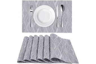 (4, Rhombusgrey) - Homaxy Placemats for Dining Table Set of 4 - Washable Vinyl Woven Insulation Heat Resistant Kitchen Table Mats, 46cm x 30cm , Rhombus Grey