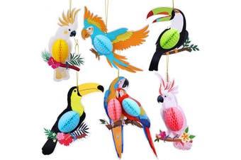 HOWAF 6 Pieces Tropical Birds Honeycomb Parrot Hawaiian Summer Beach Tiki Bar Luau Party Hanging Decorations