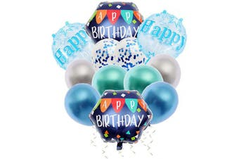 (D-navy) - Happy Birthday Decorations Party Supplies Foil ballon Latex Balloons Banner 12Pcs Navy