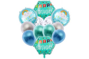 (B-green) - Happy Birthday Decorations Party Supplies Foil ballon Latex Balloons Banner 12Pcs Green