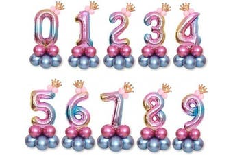 (32inch(number0)) - 80cm Crown Birthday Balloon Set Aluminium Film Balloon Party Decoration(Number0)