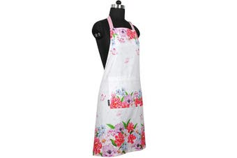 (Apron, Spring Floral) - Amour Infini Spring Floral Apron | 70cm x 80cm | 100% Natural Cotton | Womens Apron for Cooking, Baking, Gardening | Convenient Pockets and Adjustable Strap at Neck & Waist Ties